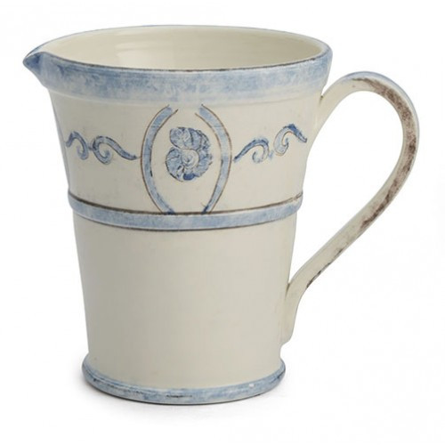 """Our Venezia is named for the Italian city of Venice, know for its canals and waterways. Venezia is reminiscent of this amazing city with its scroll border and coastal feel. Mix with our Burano Collection to create a full dinnerware collection or layer as accents. Italian ceramic. Hand made in Italy.  Dishwasher safe on the low heat setting, microwavable, may get hot.  Dimensions: 7.75"""" D X 8.5"""" H, 88 OZ SKU: VEN6820"""