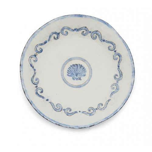 """Our Venezia is named for the Italian city of Venice, know for its canals and waterways. Venezia is reminiscent of this amazing city with its scroll border and coastal feel. Mix with our Burano Collection to create a full dinnerware collection or layer as accents. Italian ceramic. Hand made in Italy.  Dishwasher safe on the low heat setting, microwavable, may get hot.  Dimensions: 8.75"""" D SKU: VEN6802"""