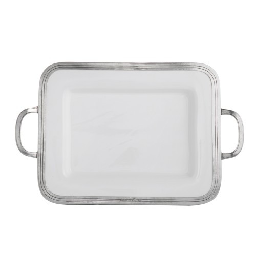 """The original pewter and ceramic dinnerware, combines white ceramic with our signature pewter trim. Handcrafted of the highest quality materials, this classic small tray translates seamlessly from traditional to contemporary, from casual to formal. Italian ceramic and pewter, Hand made in Italy.  Hand wash only.  Dimensions: 16"""" L X 10"""" W X 1.5"""" H SKU: P5119M"""