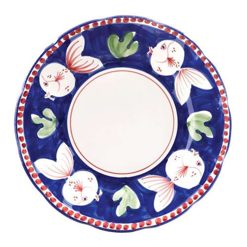 "The colorful blue and red Vietri Solimene Campagna Pesce Dinner Plate features whimsical handpainted fish swimming among green algae.   10""D PES-1000N"