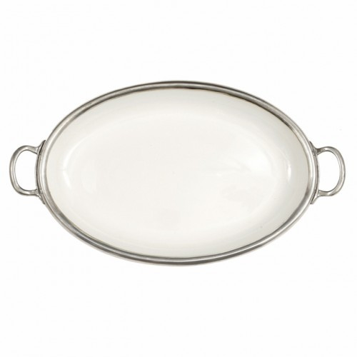 "The original pewter and ceramic dinnerware, combines white ceramic with our signature pewter trim. Handcrafted of the highest quality materials, this classic tray translates seamlessly from traditional to contemporary, from casual to formal. Italian ceramic and pewter, Hand made in Italy.  Hand wash only.  Dimensions: 20.75"" L x 12"" W SKU: P5105"