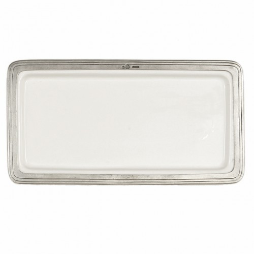 """The original pewter and ceramic dinnerware, combines white ceramic with our signature pewter trim. Handcrafted of the highest quality materials, this classic tray translates seamlessly from traditional to contemporary, from casual to formal. Italian ceramic and pewter, Hand made in Italy.  Hand wash only.  Dimensions: 12.25"""" L x 6.5"""" W SKU: P5131"""