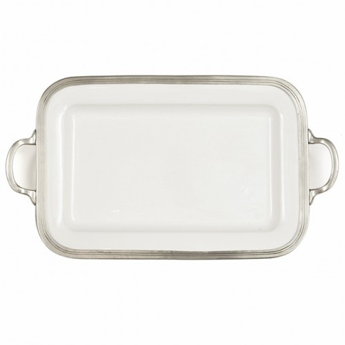 """The original pewter and ceramic dinnerware, combines white ceramic with our signature pewter trim. Handcrafted of the highest quality materials, this classic tray translates seamlessly from traditional to contemporary, from casual to formal. Italian ceramic and pewter, Hand made in Italy.  Hand wash only.  Dimensions: 20.75"""" L x 12"""" W SKU: P5119"""