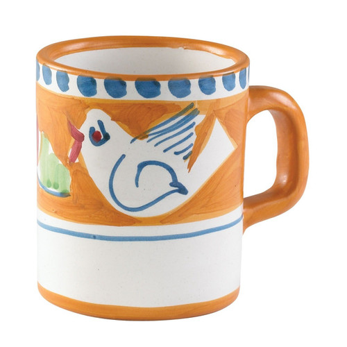 """The colorful orange and blue Vietri Solimene Campagna Uccello (bird) Mug features whimsical handpainted birds and flowers. Mix with other animals from the Campagna collection to create a fun table that captures the vitality of the Italian countryside!   3.5""""H, 12oz UCC-1010"""