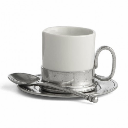 "Serve in style with this charming cup, saucer and spoon set. Italian ceramic and pewter, Hand made in Italy.  Dishwasher safe on the low-heat/air-dry setting, non-abrasive detergent recommended.  Dimensions: C: 2.25"" H, S: 4"" D, 2.5 OZ SKU: P2417S"