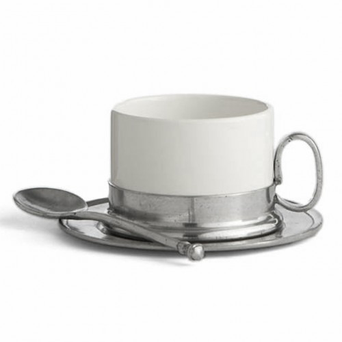 "Serve in style with this charming cup, saucer and spoon set. Italian ceramic and pewter, Hand made in Italy.  Dishwasher safe on the low-heat/air-dry setting, non-abrasive detergent recommended.  Dimensions: C: 2..5"" H, S: 5.25"" D, 8 OZ SKU: P2416S"