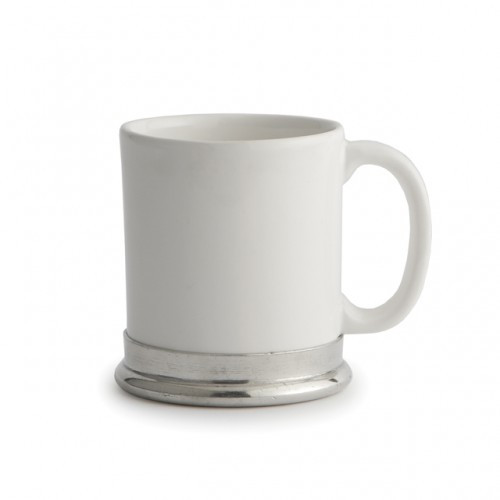 "The original pewter and ceramic dinnerware, combines white ceramic with our signature pewter trim. Handcrafted of the highest quality materials, this classic mug translates seamlessly from traditional to contemporary, from casual to formal. Italian ceramic and pewter, Hand made in Italy.  Hand wash only.  Dimensions: 3.5"" D X 4"" H, 11 OZ SKU: P5104C"