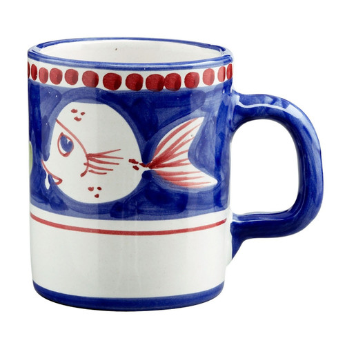 """This colorful blue and red Vietri Solimene Campagna Pesce Mug features whimsical handpainted fish swimming among green algae.   3.5""""H, 12oz PES-1010N"""