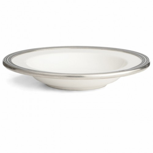 "The original pewter and ceramic dinnerware, combines white ceramic with our signature pewter trim. Handcrafted of the highest quality materials, this classic bowl translates seamlessly from traditional to contemporary, from casual to formal. Italian ceramic and pewter, Hand made in Italy.  Dishwasher safe on the low-heat/air-dry setting, non-abrasive detergent recommended.  Dimensions: 8.75"" D X 1.5"" H SKU: P5102"