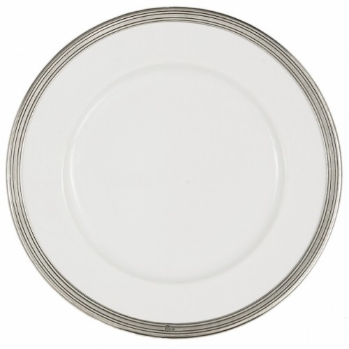 The original pewter and ceramic dinnerware, combines white ceramic with our signature pewter trim. Handcrafted of the highest quality materials, this classic charger translates seamlessly from traditional to contemporary, from casual to formal. Italian ceramic and pewter, Hand made in Italy.  Dishwasher safe on the low-heat/air-dry setting, non-abrasive detergent recommended.  Dimensions: 12.5' D SKU: P5100
