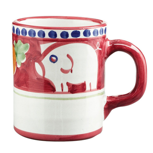 """The colorful Vietri Solimene Campagna Porco Mug features whimsical handpainted pigs and carrots.  3.5""""H, 12oz POR-1010N"""