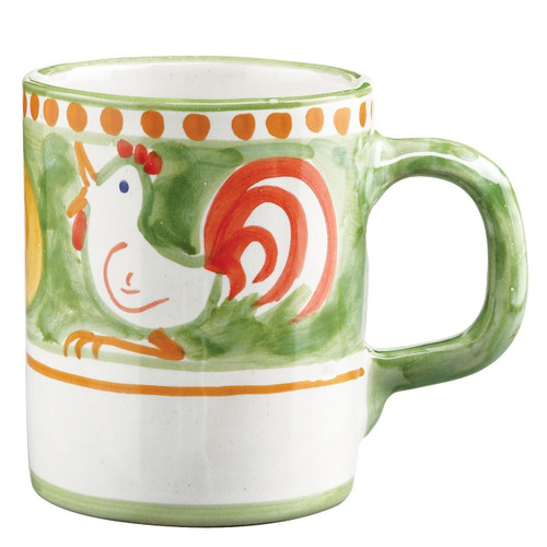 """The Vietri Gallina Mug features whimsical handpainted roosters and is part of our flagship dinnerware collection, Solimene Campagna.   3.5"""" H, 12 oz GNA-1010"""