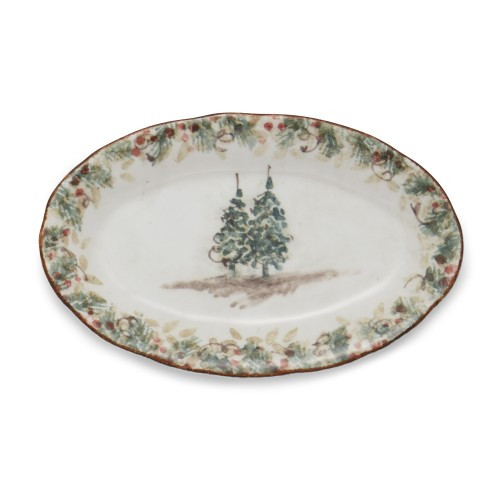 "Natale is the perfect collection to entertain through the winter season. Berries and pine boughs surround the snowy evergreens. Our Natale Small Oval Tray is perfect for serving small treats and savory snacks. This tray compliments the salt and pepper shakers and holds them nicely on the table or countertop! Hand made in Italy.  Dishwasher safe on the low heat setting. Microwavable, may get hot.  Dimensions: 8.75"" L X 5.5"" W SKU: NAT6831"