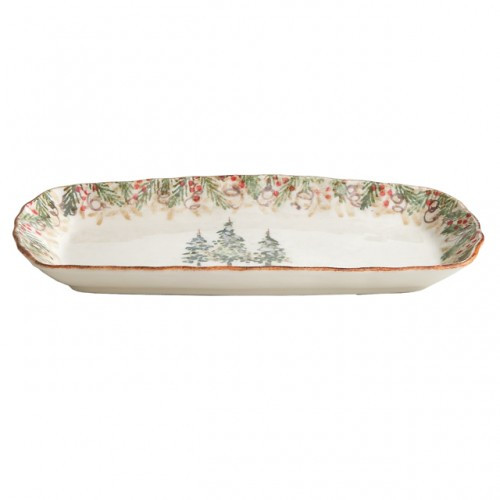 "Natale is the perfect collection to entertain through the winter season. Berries and pine boughs surround the snowy evergreens. Our Natale Tray is perfect for serving holiday treats. Hand made in Italy.  Microwaveable (may get hot) and dishwasher safe on the low heat, air-dry setting.  Dimensions: 13.5"" L X 7"" W SKU: NAT2120"
