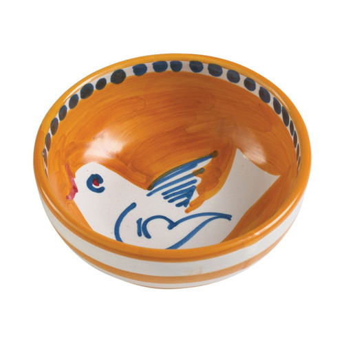 "The colorful orange and blue Vietri Solimene Campagna Uccello Olive Oil Bowl features whimsical handpainted birds and flowers. Mix with other animals from the Campagna collection to create a fun table that captures the vitality of the Italian countryside!   4""D UCC-1007"