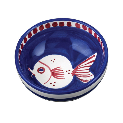 """This colorful blue and red Vietri Solimene Campagna Pesce Olive Oil Bowl features a whimsical handpainted fish.   4.5""""D PES-1007N"""