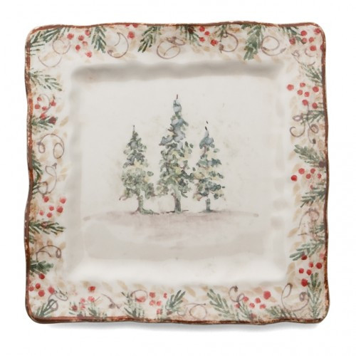 """Natale is the perfect collection to entertain through the winter season. Berries and pine boughs surround the snowy evergreens. Our Natale Square Plate is perfect for serving tasty treats, or cookies for Santa. Hand made in Italy.  Microwaveable (may get hot) and dishwasher safe on the low heat, air-dry setting.  Dimensions: 8.5"""" SQ SKU: NAT9722"""