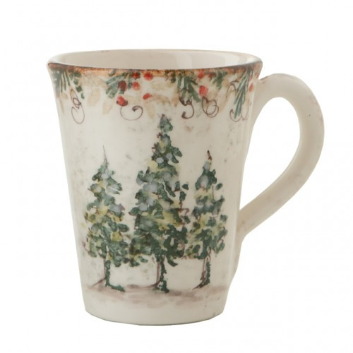 """Natale is the perfect collection to entertain through the winter season. Berries and pine boughs surround the snowy evergreens. Our Natale Mug is perfect for those chilly winter days filled with a hot chocolate or coffee. Hand made in Italy.  Microwaveable (may get hot) and dishwasher safe on the low heat, air-dry setting.  Dimensions: 4.75"""" H X 4"""" D, 15 OZ SKU: NAT4201"""