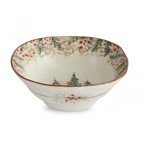 """Natale is the perfect collection to entertain through the winter season. Berries and pine boughs surround the snowy evergreens. Our Natale bowl is perfect for serving warm soups or oatmeal. Hand made in Italy.  Microwaveable (may get hot) and dishwasher safe on the low heat, air-dry setting.  Dimensions: 8"""" D X 3"""" H SKU: NAT2121"""