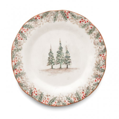 """Natale is the perfect collection to entertain through the winter season. Berries and pine boughs surround the snowy evergreens. Our Natale Plate is perfect for serving yummy meals. Hand made in Italy.  Microwaveable (may get hot) and dishwasher safe on the low heat, air-dry setting.  Dimensions: 12"""" D SKU: NAT9130"""