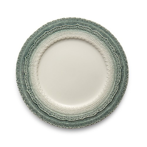 "The Finezza Holiday Green Charger adorns an intricate lace design with an ombre style on its border. This charger makes a beautiful serving piece or charger under our Natale Dinner Plate. Available Holiday 2015. Italian ceramic, Hand made in Italy.  Dishwasher Safe.  Dimensions: 13"" D SKU: FIN3261G"