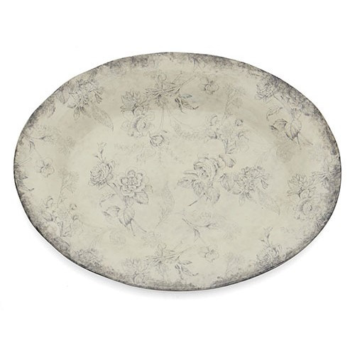 """A lovely smoky rim and floral design grace each piece of our Giuletta Collection.The oval platter is the perfect for entertaining. Italian ceramic, Hand made in Italy.  Microwavable & dishwasher safe on the low-heat/air-dry setting.  Dimensions: 17.75"""" L X 13"""" W X 1.5"""" H SKU: GIU6810"""
