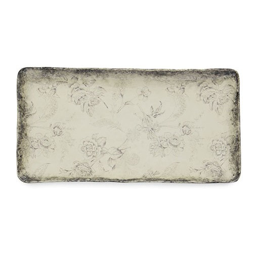 """A lovely smoky rim and floral design grace each piece of our Giuletta Collection.The rectangular platter is the perfect for entreating and serving your favorite foods. Italian ceramic, Hand made in Italy.  Microwavable & dishwasher safe on the low-heat/air-dry setting.  Dimensions: 16.25"""" L X 8.25"""" W X 1.25"""" H SKU: GIU6825"""