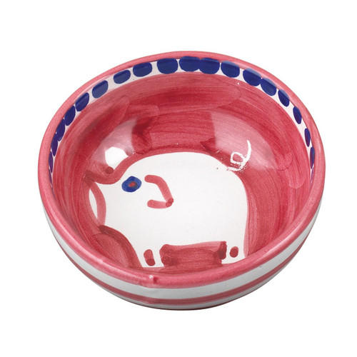 "This colorful Vietri Solimene Campagna Porco Olive Oil Bowl features a whimsical handpainted pig. 4""D POR-1007N"