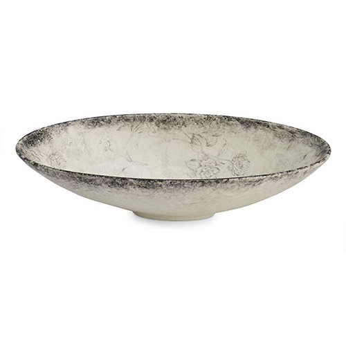 """A lovely smoky rim and floral design grace each piece of our Giuletta Collection.The oval serving bowl is perfect for entertaining or used as a centerpiece. Italian ceramic, Hand made in Italy.  Microwavable & dishwasher safe on the low-heat/air-dry setting.  Dimensions: 16.75"""" L X 8.5"""" W X 4"""" H SKU: GIU6812"""