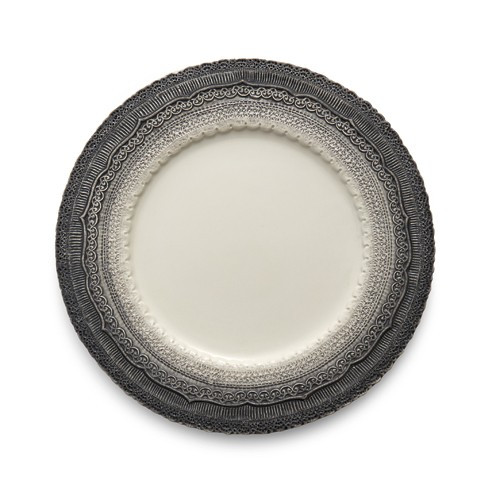 """The Finezza Grey Charger adorns an intricate lace design with an ombre style on its border. This charger makes a beautiful serving piece or charger under our Merletto Dinner Plates. Italian ceramic, Hand made in Italy.  Dishwasher Safe.  Dimensions: 13"""" D SKU: FIN3261N"""