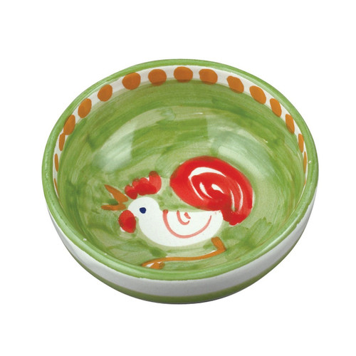 "The Vietri Solimene Gallina Olive Oil Bowl features a whimsical handpainted rooster and is part of our flagship dinnerware colllection, Campagna.   4"" D GNA-1007"