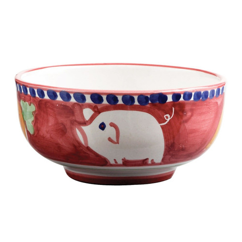 """This colorful Vietri Solimene Campagna Porco Cereal/Soup Bowl features whimsical handpainted pigs and carrots.   5""""D POR-1005N"""