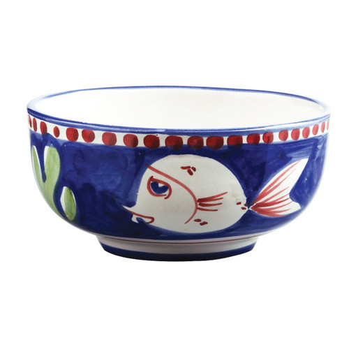 """This colorful blue and red Vietri Solimene Campagna Pesce Cereal/Soup Bowl features whimsical handpainted fish swimming among green algae.   5""""D PES-1005N"""