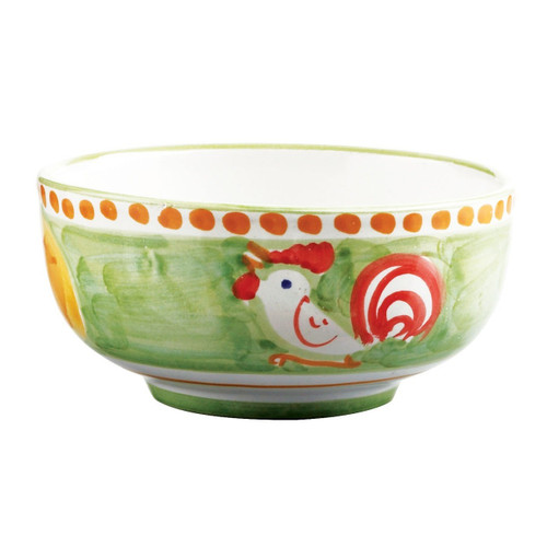 """The Vietri Gallina Cereal/Soup Bowl features whimsical handpainted roosters and is part of our flagship dinnerware collection, Solimene Campagna. 5""""D GNA-1005"""