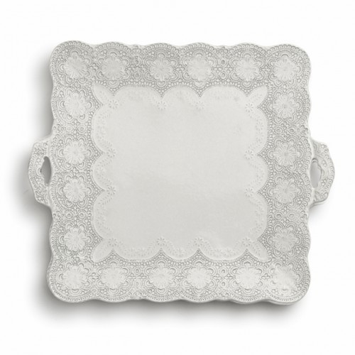 """A delicate cream glaze, a rich, black clay and an vintage lace pattern blend beautifully to create this stunning platter. Italian ceramic, Hand made in Italy.  Microwavable, oven & dishwasher safe on the low-heat/air-dry setting.  Dimensions: 13.75"""" SQ SKU: MER0043AL"""