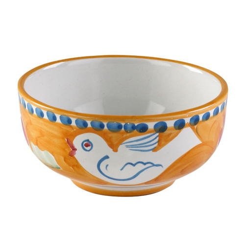 """The colorful orange and blue Solimene Campagna Uccello Cereal/Soup Bowl features whimsical handpainted birds and flowers. Mix with other animals from the Vietri Campagna collection to create a fun table that captures the vitality of the Italian countryside!   5""""D UCC-1005"""