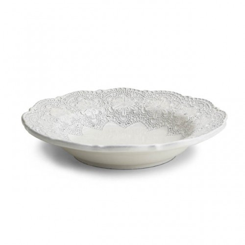 "A delicate cream glaze, a rich, black clay and an vintage lace pattern blend beautifully to create this stunning bowl. Italian ceramic, Hand made in Italy.  Microwavable, oven & dishwasher safe on the low-heat/air-dry setting.  Dimensions: 9.25"" D SKU: MER1225AL"