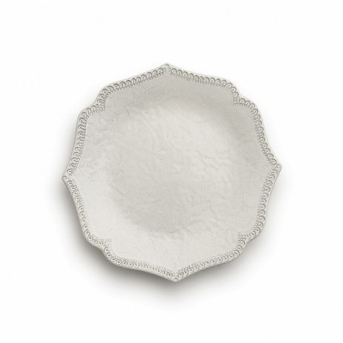 "A delicate cream glaze, a rich, black clay and an vintage lace pattern blend beautifully to create this stunning plate. Italian ceramic, Hand made in Italy.  Microwavable, oven & dishwasher safe on the low-heat/air-dry setting.  Dimensions: 8.25"" D SKU: MER0323AL"