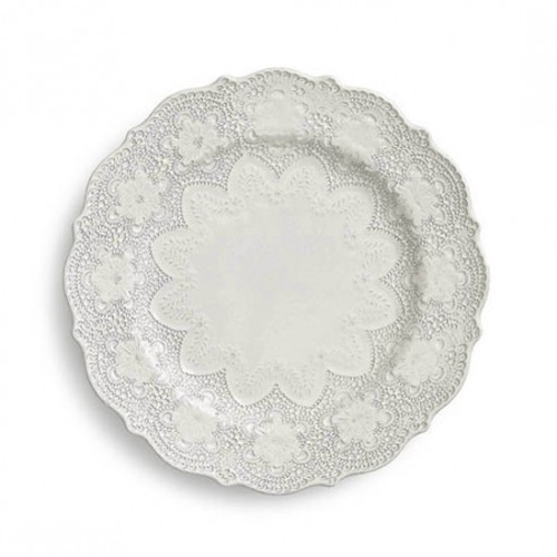 "A delicate cream glaze, a rich, black clay and an vintage lace pattern blend beautifully to create this stunning plate. Italian ceramic, Hand made in Italy.  Microwavable, oven & dishwasher safe on the low-heat/air-dry setting.  Dimensions: 10.75"" D SKU: MER0028AL"