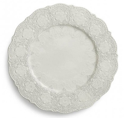 "A delicate cream glaze, a rich, black clay and an vintage lace pattern blend beautifully to create this stunning charger. Italian ceramic, Hand made in Italy.  Microwavable, oven & dishwasher safe on the low-heat/air-dry setting.  Dimensions: 12.25"" D SKU: MER1133AL"
