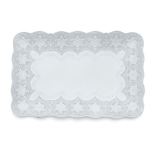 "A delicate white glaze, a rich, black clay and an vintage lace pattern blend beautifully to create this stunning tray. Italian ceramic, Hand made in Italy.  Microwavable, oven & dishwasher safe on the low-heat/air-dry setting.  Dimensions: 8.5"" D X 9.25"" H SKU: MER233W"