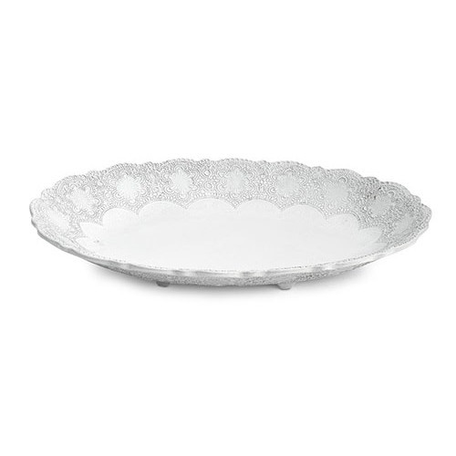 "A delicate white glaze, a rich, black clay and an vintage lace pattern blend beautifully to create this stunning bowl. Italian ceramic, Hand made in Italy.  Microwavable, oven & dishwasher safe on the low-heat/air-dry setting.  Dimensions: 18.75"" L X 12"" W X 2.5"" H SKU: MER4548W"