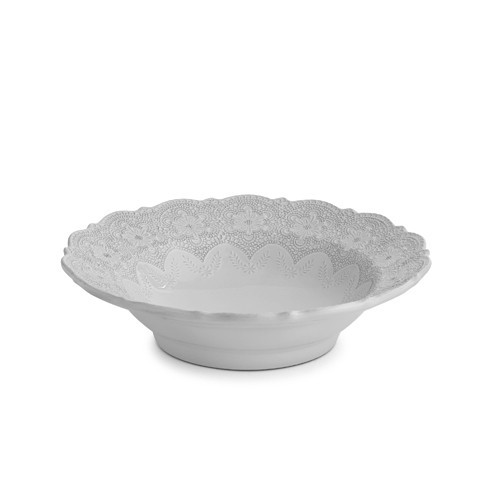 "A delicate cream glaze, a rich, black clay and an vintage lace pattern blend beautifully to create this stunning bowl. Italian ceramic, Hand made in Italy.  Microwavable, oven & dishwasher safe on the low-heat/air-dry setting.  Dimensions: 12"" D SKU: MER1532W"