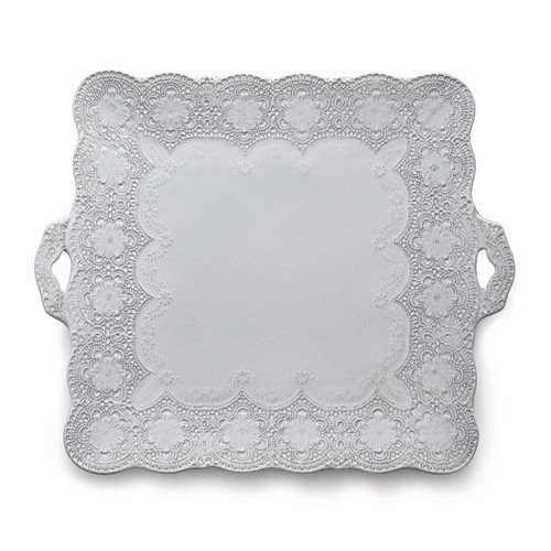 "A delicate white glaze, a rich, black clay and an vintage lace pattern blend beautifully to create this stunning platter. Italian ceramic, Hand made in Italy.  Microwavable, oven & dishwasher safe on the low-heat/air-dry setting.  Dimensions: 13.75"" SQ SKU: MER0043W"