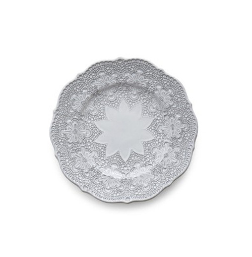 """A delicate white glaze, a rich, black clay and an vintage lace pattern blend beautifully to create this stunning plate. Italian ceramic, Hand made in Italy.  Microwavable, oven & dishwasher safe on the low-heat/air-dry setting.  Dimensions: 8"""" D SKU: MER6921W"""