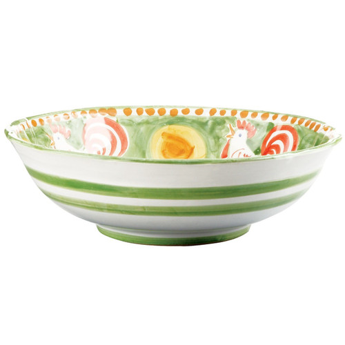 """The Gallina Large Serving Bowl features whimsical handpainted roosters and is part of our flagship dinnerware collection, Campagna. 12""""D GNA-1025"""