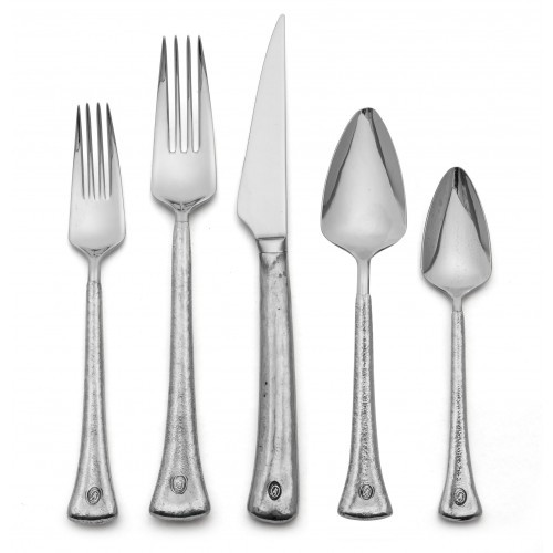 Italian pewter is hand wrapped around 18/10 stainless steel to create our Elena Flatware. Unusual shapes and a contemporary design combine to bring modern meets old world. Italian pewter and 18/10 stainless steel, Hand made in Italy.  Dishwasher safe on the low-heat/air-dry setting, non-abrasive detergent recommended.  Dimensions: STANDARD SKU: PE0046