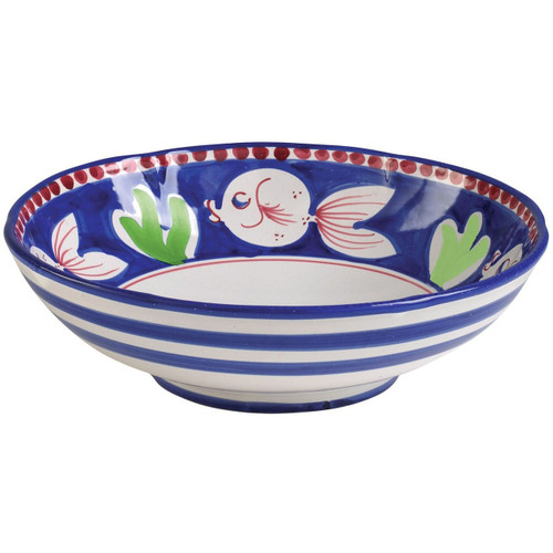 "The colorful blue and red Campagna Pesce Large Serving Bowl features whimsical handpainted fish swimming among green algae on the inside with blue stripes on the outside. 12""D PES-1025N"
