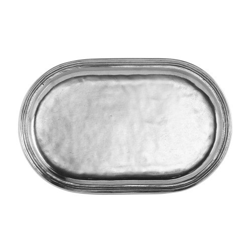 "Our peltro oval tray is perfect for corralling sugar & creamers, oil & vinegars or used for serving. It has a classic design that will be enjoyed for years to come. Italian pewter, Hand made in Italy.  Hand wash only.  Dimensions: 11"" L X 7"" W X 4.5"" H SKU: P2650"