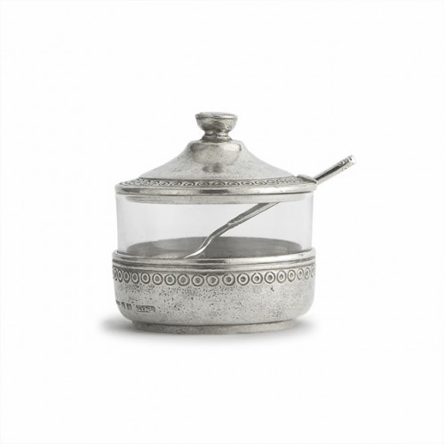 "Arte Italica Anna Sugar Bowl with Spoon  ANN2007  The Anna Caffe collection is created by Italian artisans using the highest quality Italian pewter and glass. Each piece is adorned with a delicate pattern that is reminiscent of vintage lace. These pieces combine beautifully with a variety of our other stunning collections. Handmade in Italy.  Hand wash only.  Dimensions: 3.5"" D X 4"" H SKU: ANN2007"